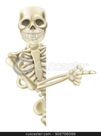 Pointing Cartoon Halloween Skeleton stock vector clipart, Illustration of a friendly pointing cartoon Halloween skeleton character by Christos Georghiou
