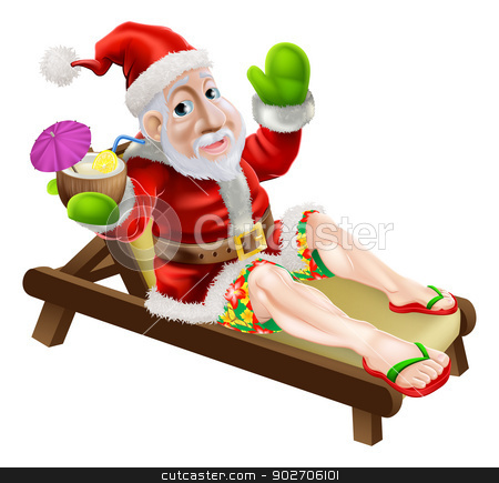 Summer Christmas Santa stock vector clipart, Santa Claus on a hot Christmas holiday relaxing in a sun lounger on the beach or by the pool wearing Bermuda or Hawaiian board shorts and flip flop sandals and enjoying a drink. by Christos Georghiou