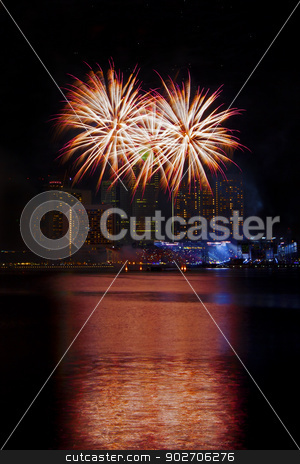 Singapore Fireworks stock photo, Fireworks over Marina bay in Singapore by Kjersti Jorgensen
