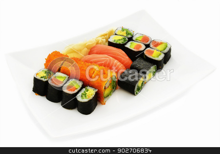 Sushi stock photo, Sushi with fish, caviar, avocado, egg and cucumber. by lermannika