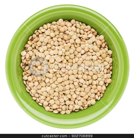 bowl of soybeans stock photo, yellow soybeans on isolated green  ceramic bowl, top view by Marek Uliasz