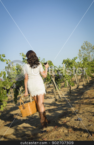 Young Woman Enjoying A Walk and Wine in Vineyard stock photo, Young Mixed Race Woman Enjoying A Walk and a Glass of Wine in the Vineyard. by Andy Dean