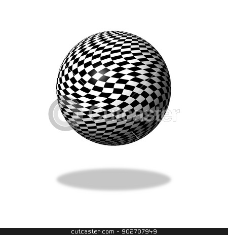 Chessboard Globe stock photo, Abstract black and white chessboard globe on white background with shadow. by Henrik Lehnerer