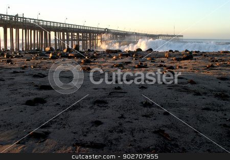 Ventura Pier Sturm Wave stock photo, Ocean waves throughout at storm crashing into the Ventura pier. by Henrik Lehnerer