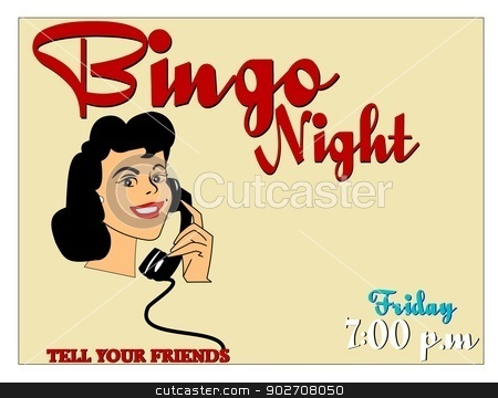 bingo night stock vector clipart, woman on phone calling friends to go to bingo  by Gary Nicolson