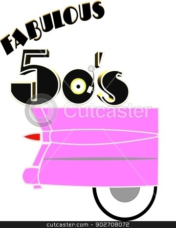 faboulous fifties concept over white stock vector clipart, fab fifties with pink cadillac by Gary Nicolson