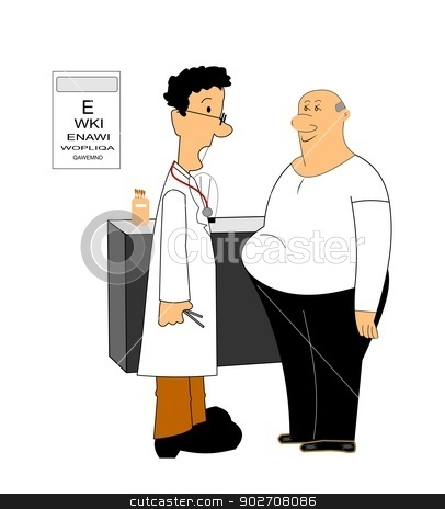 obesity concept over white  stock vector clipart, doctor talking to man about his weight  by Gary Nicolson