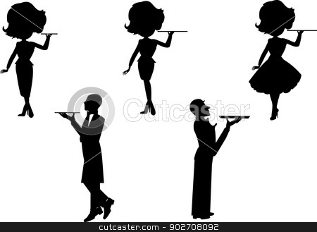 waitress and waiter set in silhouette stock vector clipart, waitress set  by Gary Nicolson