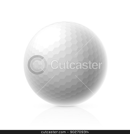 Golf ball stock photo, Golf ball isolated on white background. Vector illustration by sermax55