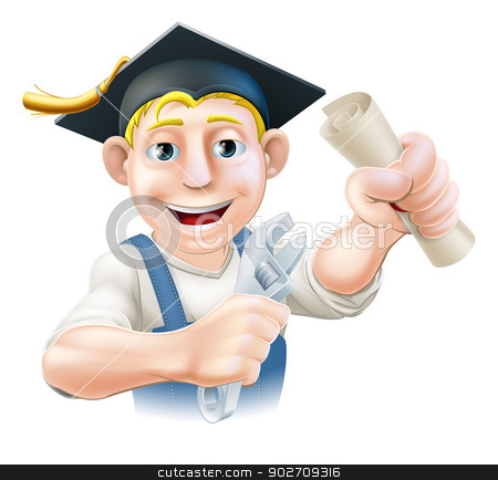 Graduate plumber or mechanic stock vector clipart, Professional training or learning or being qualified concept. Plumber or mechanic with wrench and mortar board graduate cap and diploma certificate or other qualification. by Christos Georghiou