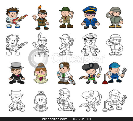 Cute cartoon people set stock vector clipart, A set of cartoon people or children playing dress up. Includes color and black and white outline versions. by Christos Georghiou