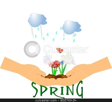 spring concept  over white  stock vector clipart, spring concept with woman's hands cupped for growth  by Gary Nicolson