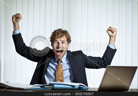 Successful businessman stock photo, Happy businessman making a score on a deal by Thomas Rugdal