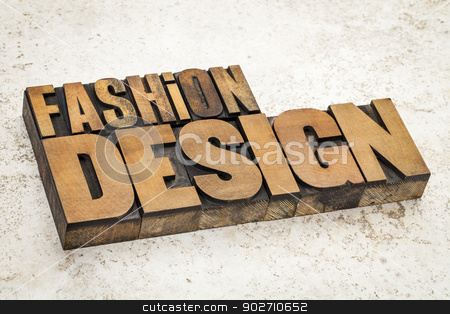 fashion design stock photo, fashion  design  text in vintage letterpress wood type on a ceramic tile background by Marek Uliasz