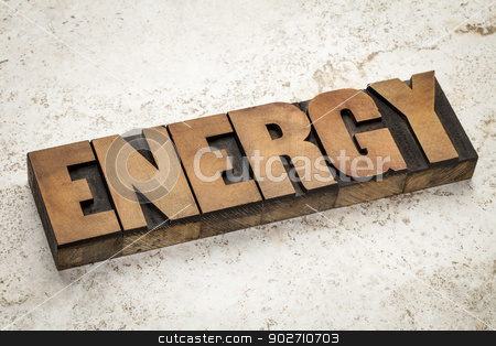 energy word typography stock photo, energy word in vintage letterpress wood type on a ceramic tile background by Marek Uliasz