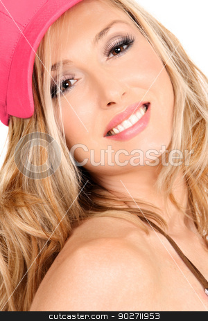 Smiling woman with long blond hair stock photo, Smiling woman with strong makeup and wavy long blond tousled hair under a pretty coral pink cap. by Leah-Anne Thompson