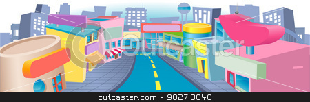 Illustration of shopping street stock vector clipart, An illustration of a of cartoon shopping street with lots of interesting shops by Christos Georghiou