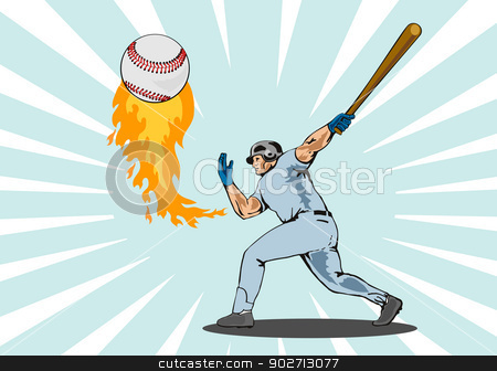 Baseball Player Batting Ball Flames stock vector clipart, Illustration of a baseball player batter hitting a ball on fire done in retro style. by patrimonio