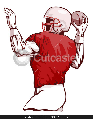 Football Player Pass stock photo, Illustration of football player passing viewed from the side done in retro style.  by patrimonio