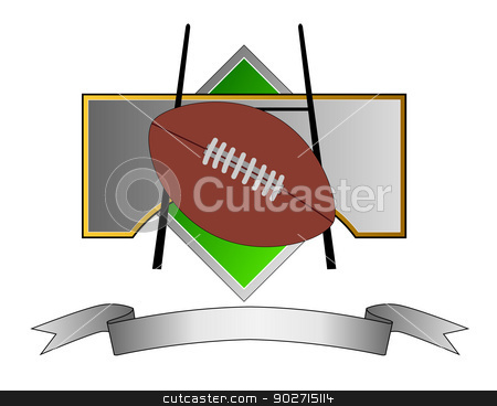 Football and Goal Post on Metal Crest stock photo, Illustration of a football and goal post on a metal crest with ribbon done in retro style.  by patrimonio