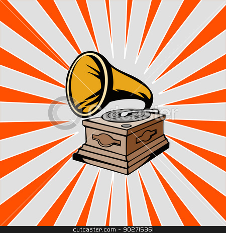 Phonograph with Sunburst stock photo, Illustration of a phonograph with sunburst in the background done in retro style.  by patrimonio
