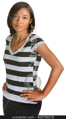 Calm Teenager in Striped Shirt stock photo, Calm beautiful young woman with hands on hips by Scott Griessel