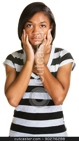 Depressed Teenager stock photo, Depressed teenage girl in stripes over white background by Scott Griessel
