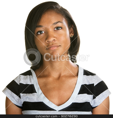 Serious Teenager in Striped Shirt stock photo, Serious teenage female in stripes over white background by Scott Griessel