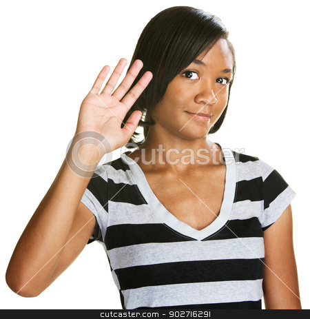 Cute Teen Waving stock photo, Single cute teenage female waving her hand by Scott Griessel