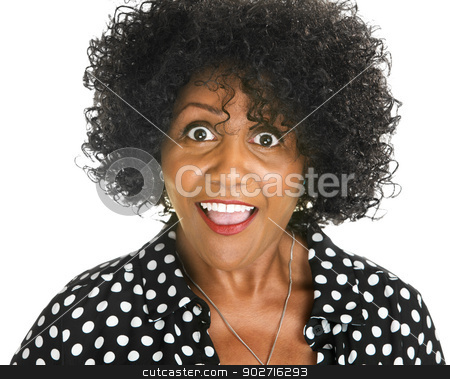 Amazed Woman stock photo, Amazed middle aged African woman on isolated background by Scott Griessel