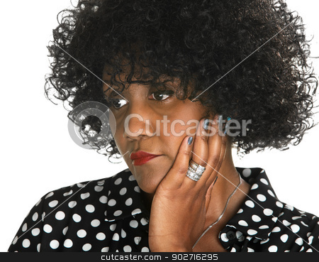 Sad Lady with Hand on Cheek stock photo, Sad woman with hand on cheek over white background by Scott Griessel
