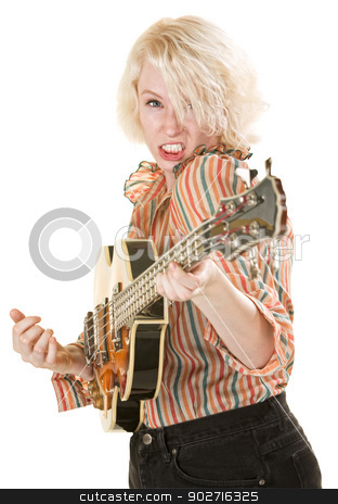 Intense Guitarist stock photo, Intense young white female electric guitarist on isolated background by Scott Griessel