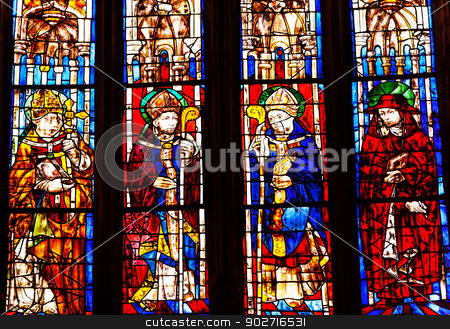 Bishops Cardinal Stained Glass Cathedral of Saint Mary of the Se stock photo, Bishops Cardinal Stained Glass Created 1534 Seville Cathedral, Cathedral of Saint Mary of the See, Seville, Andalusia Spain.  Built in the 1500s.  Largest Gothic Cathedral in the World and Third Largest Church in the World.  Burial Place of Christopher Columbus. by William Perry