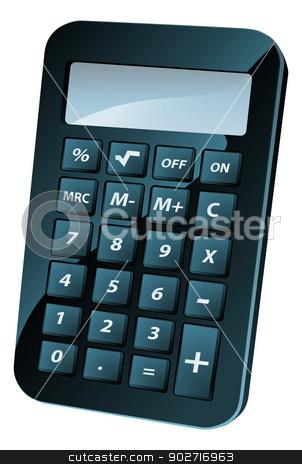 Calculator Illustration stock vector clipart, An illustration of a black shiny retro calculator or calculator icon by Christos Georghiou