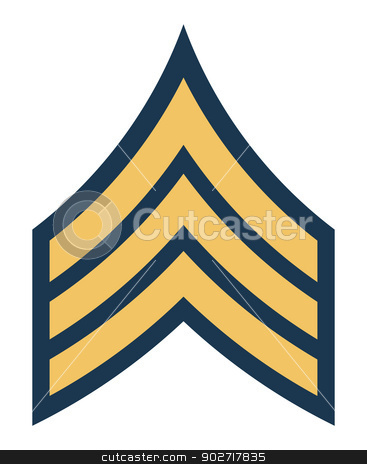 American army sergeant insignia rank stock photo, American army sergeant insignia rank badge isolated on white background.  by Martin Crowdy