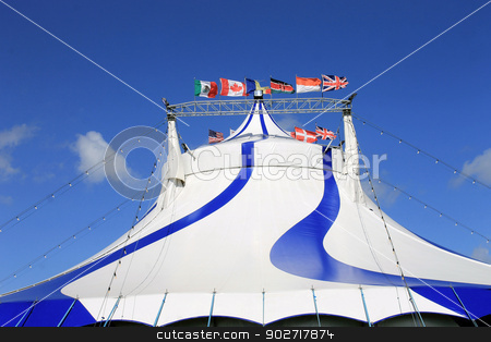 Circus big top tent stock photo, Exterior of circus big top tent, blue and white. by Martin Crowdy