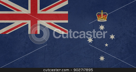 Grunge Victoria state flag stock photo, Grunge flag of the Australian state of Victoria. by Martin Crowdy