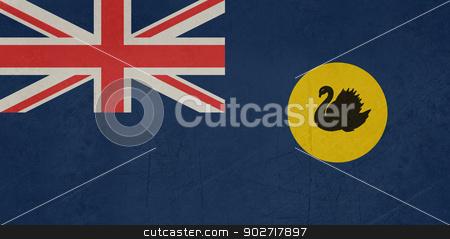 Grunge Western Australia state flag stock photo, Grunge flag of the state of Western Australia. by Martin Crowdy