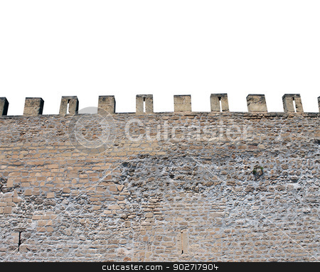 Isolated castle battlements stock photo, Exterior of medieval castle showing battlements. isolated on white background by Martin Crowdy