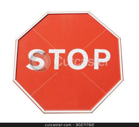 Red stop sign stock photo, Red hexagonal stop sign isolated on white background. by Martin Crowdy