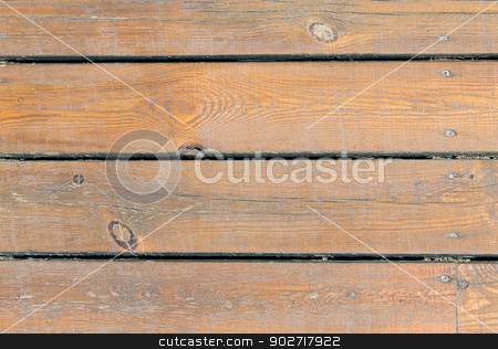 Textured wooden background stock photo, Overhead view of textured brown wooden background. by Martin Crowdy