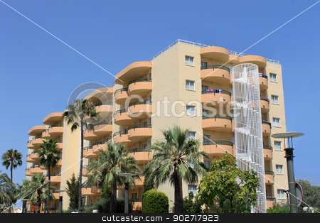 Tourist hotel on island on Majorca stock photo, Scenic view of tourist hotel on island of Majorca, Spain. by Martin Crowdy