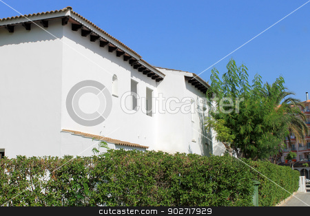 White Spanish homes stock photo, Exterior of traditional white Spanish homes on island of Majorca. by Martin Crowdy