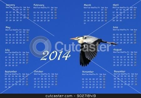 2014 english calendar with heron in flight