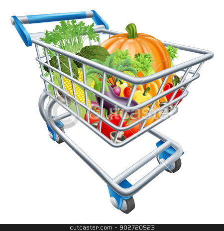 Vegetable Shopping Cart Trolley stock vector clipart, An illustration of a shopping cart trolley full of healthy fresh vegetables by Christos Georghiou