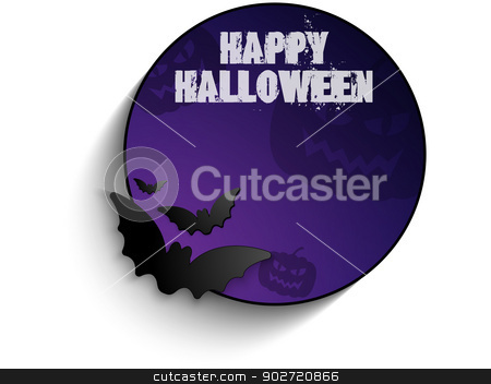 Vector - Halloween Bat Circle Frame Pumpkin Background Vector stock vector clipart, Halloween Bat Circle Frame Pumpkin Background by Augusto Cabral Graphiste Rennes