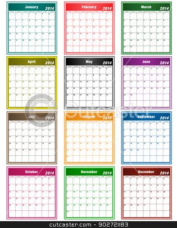 Calendar 2014 assorted colors