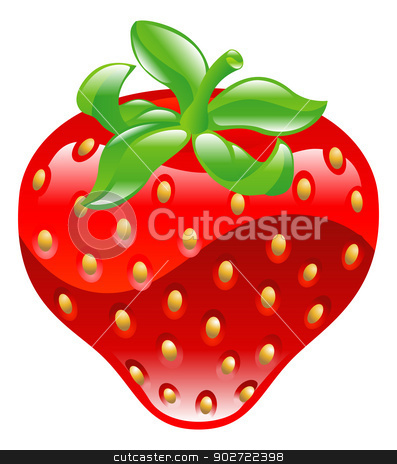 Illustration of shiny strawberry icon stock vector clipart, Illustration of shiny strawberry icon clipaart by Christos Georghiou