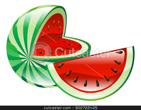Illustration of watermelon fruit icon clipart stock vector clipart, Illustration of watermelon fruit icon clipart by Christos Georghiou