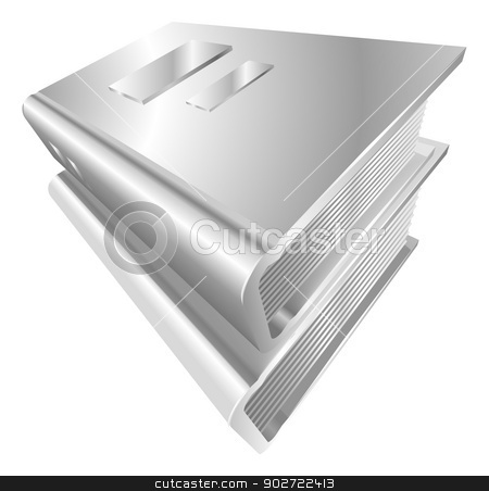 Illustration of shiny metal steel icon stock vector clipart, Illustration of shiny metal steel books icon by Christos Georghiou